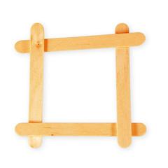 Wooden frame on white