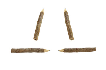 Wooden Pencil on white background.
