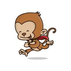 Cute Superhero Monkey with cape Running Happy cartoon