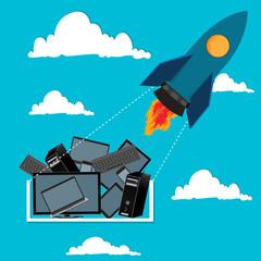 computing concept, flat, vector, illustration