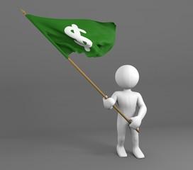 Character holding money symbol flag 3d illustration