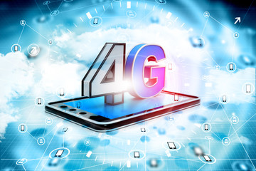 Digital illustration of 4g tablet pc