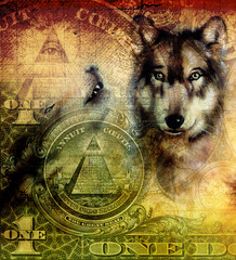 one dollar collage with wolf head, painting, color ornament