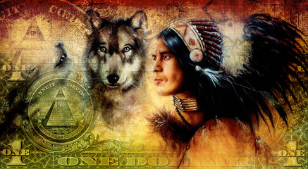 one dollar collage with indian man warrior with wolf, ornament