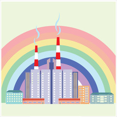 Вид на город на фоне радуги