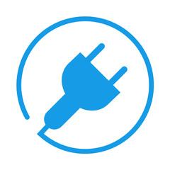 Icono aislado energia electrica azul