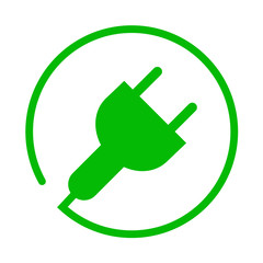 Icono aislado energia electrica verde