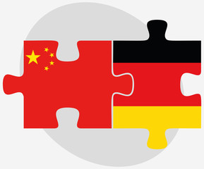 China and Germany Flags in puzzle