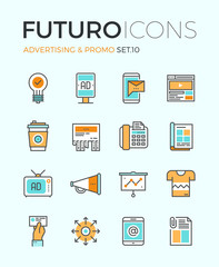 Advertising futuro line icons