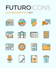 Business essentials futuro line icons
