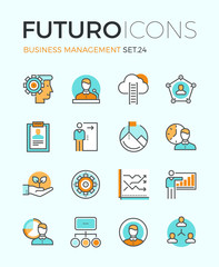 Business management futuro line icons