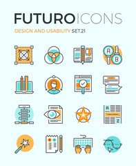 Design and usability futuro line icons