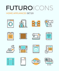 Appliances futuro line icons