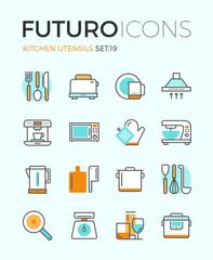 Kitchen utensils futuro line icons