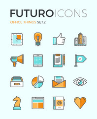 Office things futuro line icons