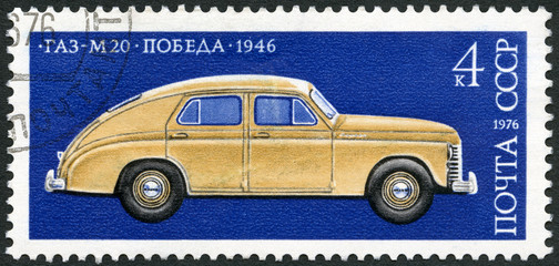 USSR - 1976: shows  GAZ-M20 Pobeda (Victory), made in 1946