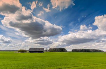 Countryside with clouds floating across the sky, spring, Europe