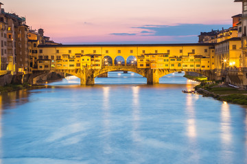 View of Ponte Vecchio at twilight in Florence, Italy