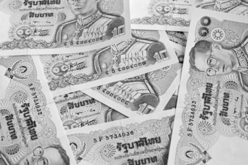 Thai baht note display as background