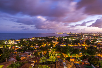 Skyline of Olinda and Recife in PE, Brazil at sunset.
