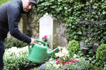 Mann gießt ein Grab