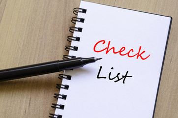 White notepad check list