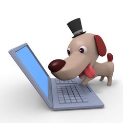 ノートパソコンをみる犬のキャラクター