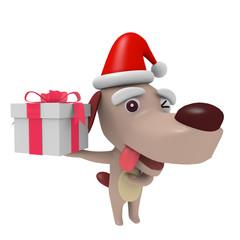 プレゼントボックスと犬のキャラクター