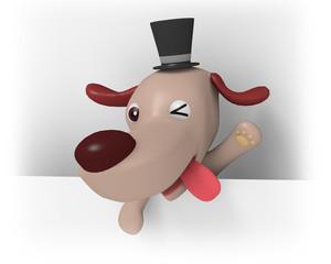 ウィンクする犬のキャラクター