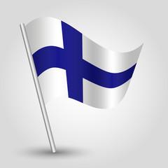 vector waving triangle finnish  flag on stick - Finland