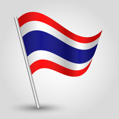 vector waving simple triangle thai flag on stick - Thailand