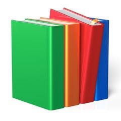 Book selecting bookshelf take one from four books row choice