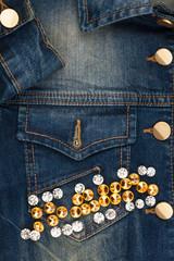 Word jeans made of rhinestones on denim jacket