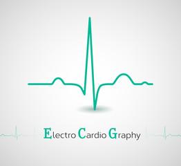 EKG line - electrocardiogram. Vector illustration.