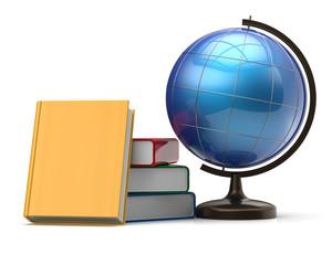 Globe and books blank international global geography icon
