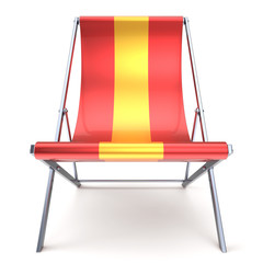 Beach chair red yellow chaise longue nobody relaxation icon