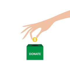 hand putting coin into the box donation