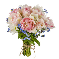 Bouquet of tulips and forget-me-not, isolated on white backgroun