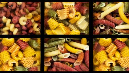 assortment of italian pasta nine different varieties separated