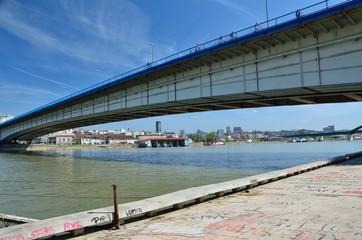 City bridge and city panorama