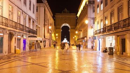 4K night timelpase of Augusta street in Lisbon , Portugal