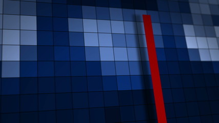 Blue motion background with animated squares and red lines.