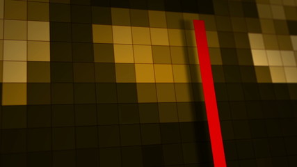 Brown motion background with animated squares and red lines.