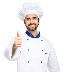 Mature chef thumbs up