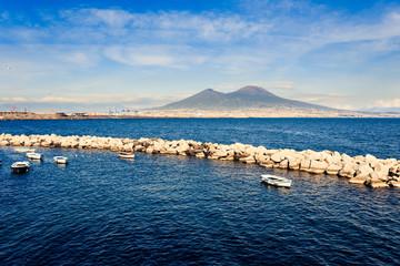 Naples seascape with vesuvio mountain on background