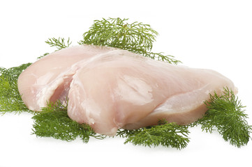Raw chicken breast fillets on the white