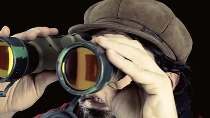 Man vintage binoculars