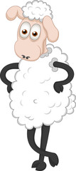 Vector illustration of funny standing sheep
