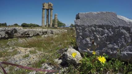 Rhodes historical  Apollo temple ruins columns in acropolis. 4K