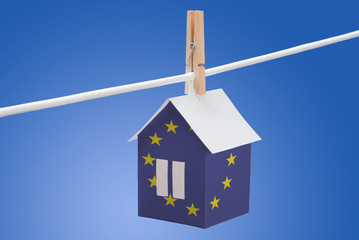 European Union flag printed on paper house